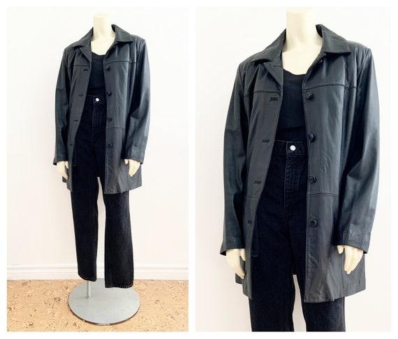 Vintage BLACK LEATHER BLAZER Coat / size Small - M