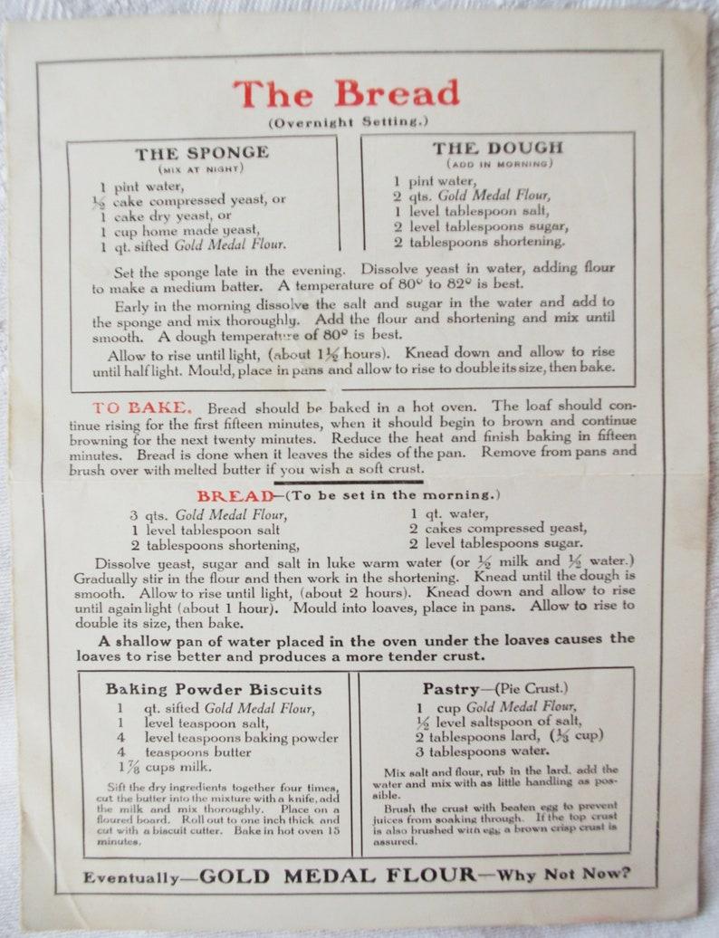 Gold Medal Flour Recipe Sheet Darling Graphics 1920s Vintage Advertising