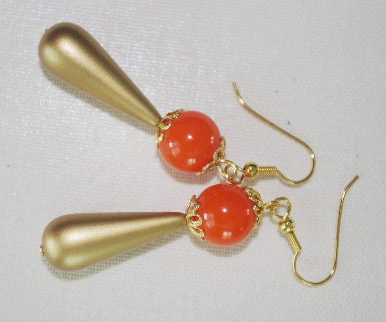 Handmade Earrings Vintage Orange Lucite Balls /& Matte Gold Lucite Drops