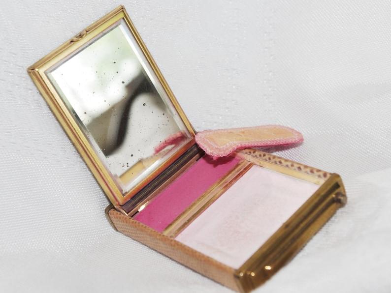 Faux Snakeskin Beveled Mirror 1940s Vintage Powder  Blush Compact