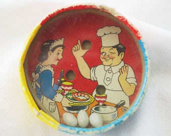 VINTAGE Two-Sided Dexterity Puzzle Chef & Maid Bear with Barrel MIJ
