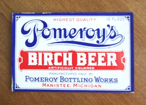 Vintage POMEROY/'S BIRCH BEER Paper Bottle Label Michigan Manistee