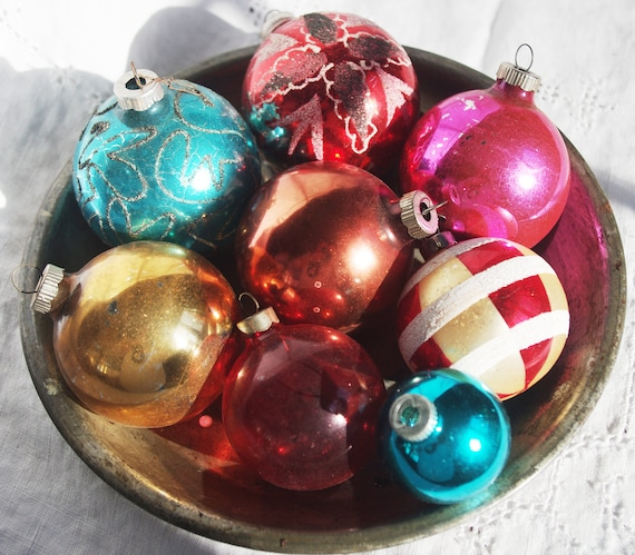 8 Vintage Glass Christmas Ornaments Painted Stripes Glitter Shiny Brite