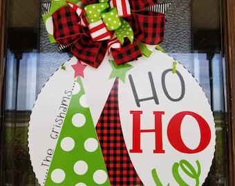 monogrammed whimsical christmas door hanger ho ho ho door hanger buffalo plaid front door decor christmas decor