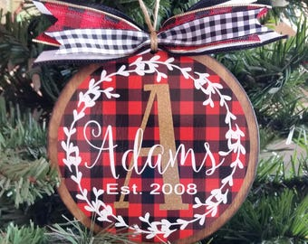personalized buffalo plaid christmas ornament handmade custom ornament buffalo plaid decor