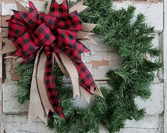 buffalo plaid christmas wreath bow rustic wedding decor rustic christmas bow handmade bow christmas tree topper