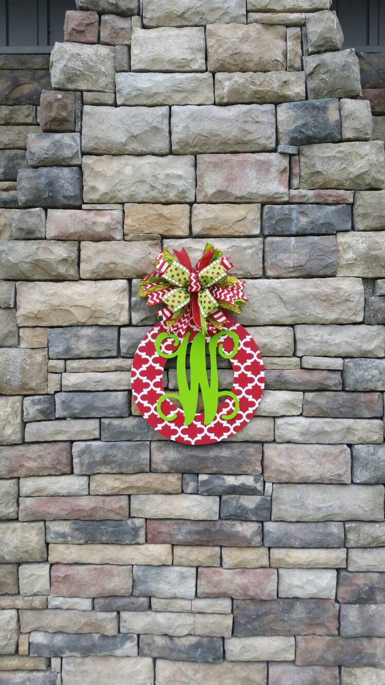 Christmas Wreath with Initial Front Door Decor Christmas Decor Monogrammed Wreath Front Door Hanger
