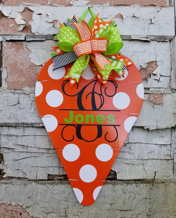 Personalized Easter Carrot Door Hanger Spring Decor Front Door Decor Easter Decoration