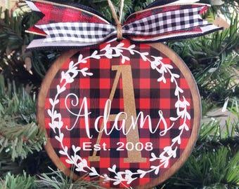 Buffalo Plaid Christmas Ornament, Personalized Wood Ornament, Christmas Gift, Custom Ornament, Buffalo Plaid Decor