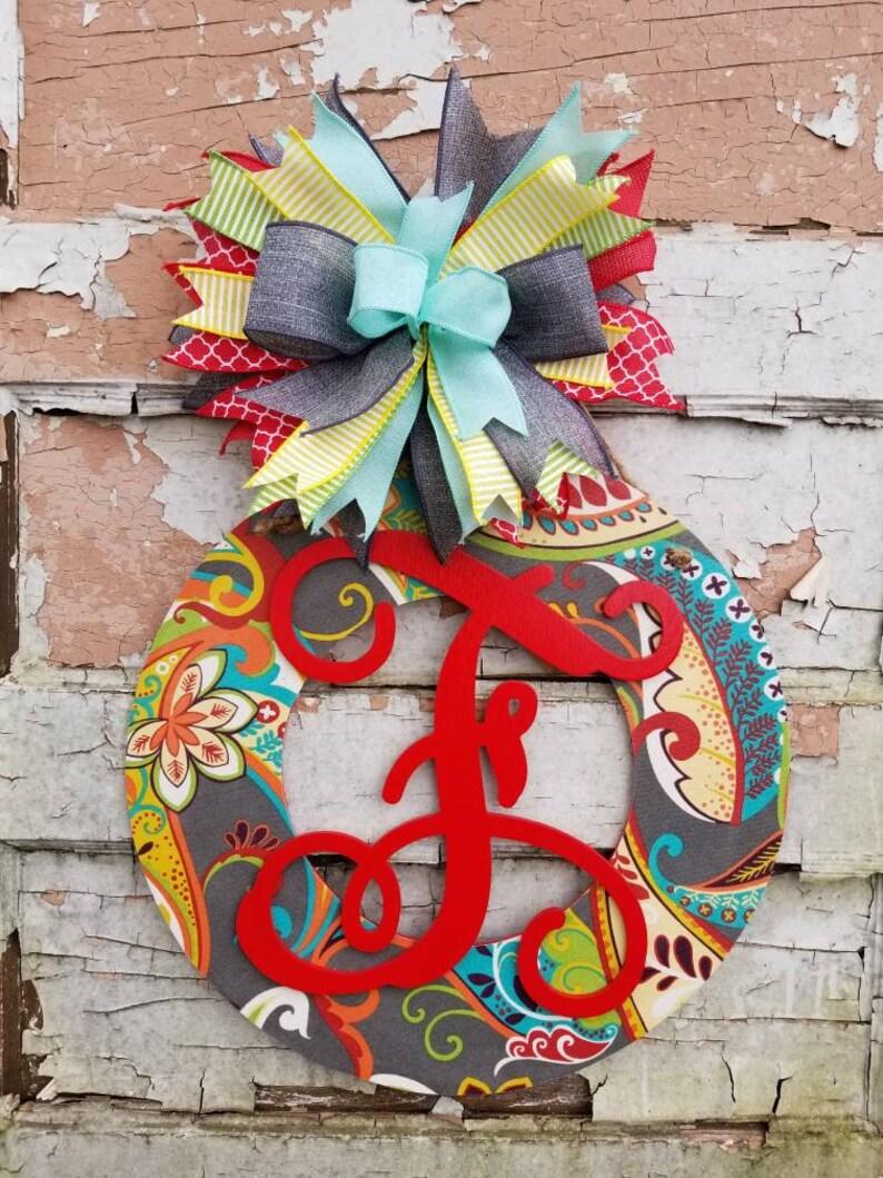 Summer Front Door Decor Personalized Fabric and Wood Wreath Wedding Gift Front Door Hanger