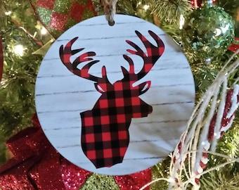 Buffalo Plaid Christmas Ornament Plaid Deer Wooden Ornament Christmas Gift Custom Ornament