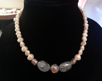 Freshwater Pearls Blue Glass Silver Tone Flower Bead Necklace