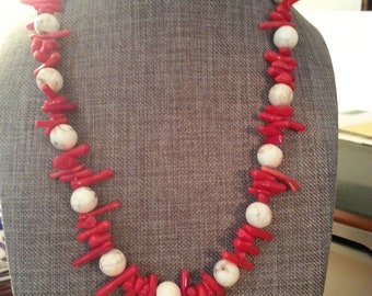 Red Coral with White Marbled Stone Beaded Necklace