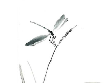 Digital Download Dragonfly Zen Ink Brush Drawing Asian Art Wall Minimalist Japanese Sumi E Gift For Her Him Dorm