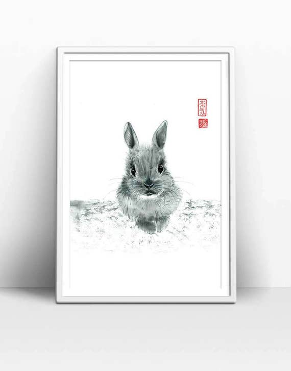 Set of 3 Animal Wall Art featuring Surfing Bunny Print in Black and White For Toddler Room Decor Baby Animal Prints Instant Download
