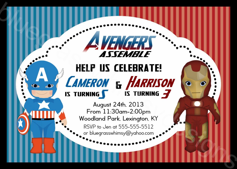Iron Man Captain America Avengers Printable Birthday Party   Etsy