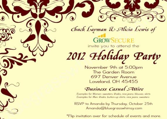 Custom Corporate Holiday Party Invitation W Crimson Flourish
