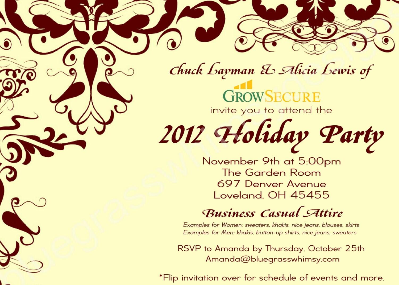 Custom Corporate Holiday Party Invitation W Crimson Flourish Etsy