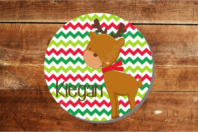 Chevron Reindeer Plate 10 Personalized Melamine Plate name or monogram