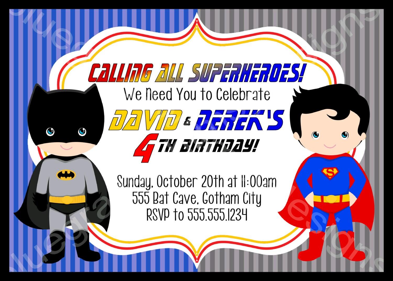 Batman Superman Super Hero Marvel Printable Birthday Party | Etsy