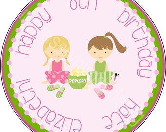 """2.5"""" Round Cupcake Toppers for Slumber Party Birthday"""