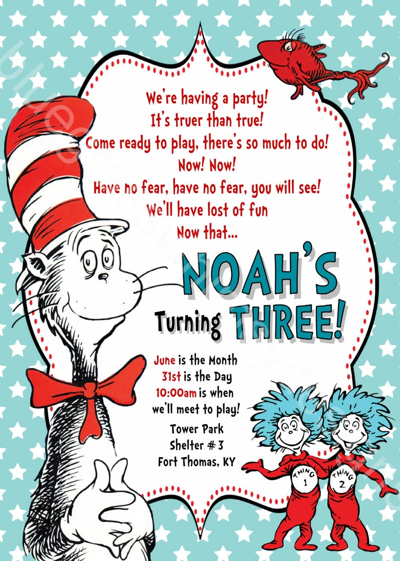 Cat In The Hat Thing 1 2 Red Fish Dr Seuss