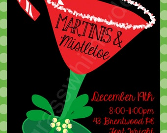 Martinis & Mistletoe Printable Holiday Party Invitation