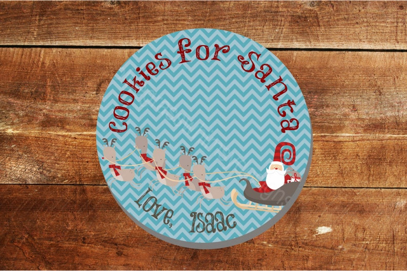 name or monogram ADDITIONAL SHIPPING REQUIRED for Christmas Delivery! Cookies for Santa with Sleigh 10 Personalized Melamine Plate