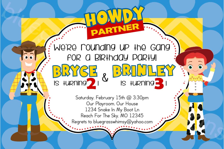 Toy Story Woody & Jessie Disney/ Pixar Printable Birthday | Etsy