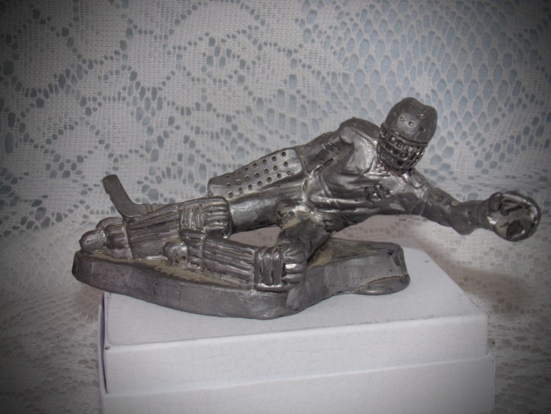Pewter Hockey Player Figurine   Pewter Figurines  Sports Figurines    Vintage Pewter Figurine Artist Coroseal  Sports Pewter Collectible