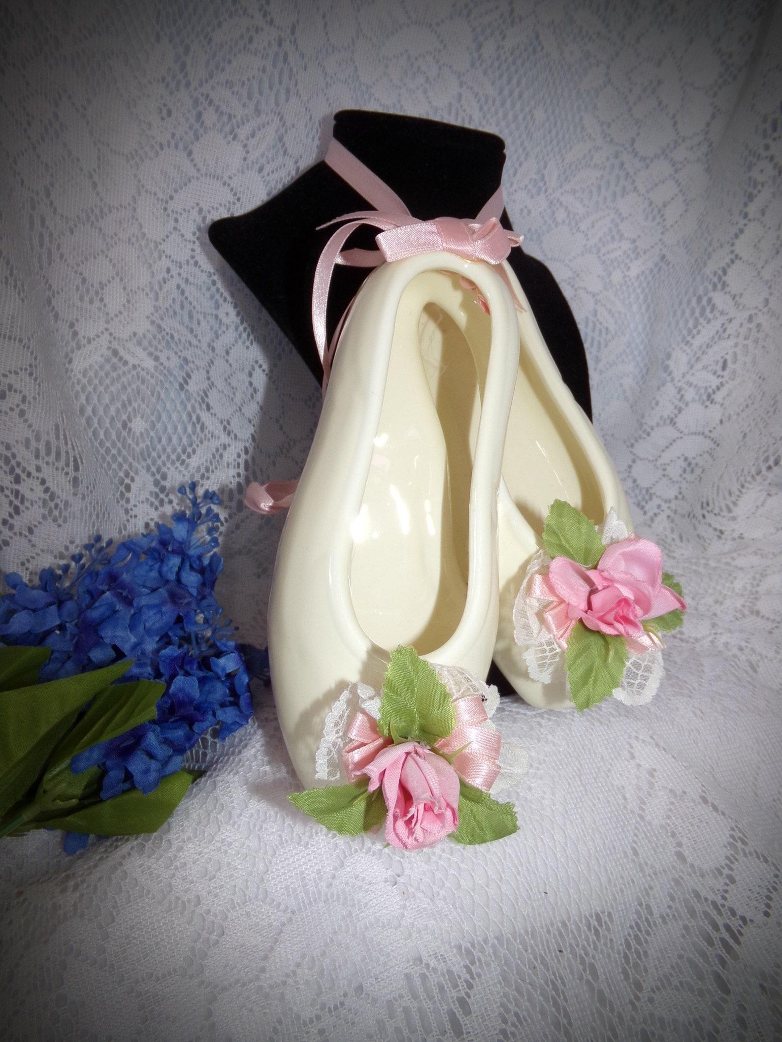 vintage ballet shoes wall art . ceramic ballet shoes wall art . dance teacher gift . ballet shoe statue . ballerina decor . vict