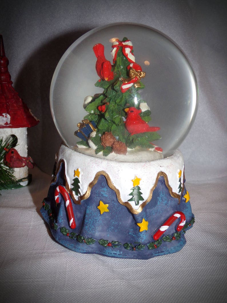 Christmas Musical Snowglobe Water Globe Christmas Tree Red Cardnal Snowglobe March Of The Toy Soldier Musical Snow Globe