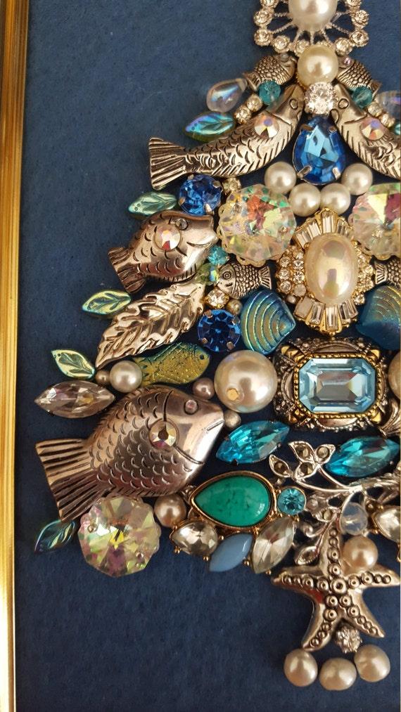 Jewelry Christmas Tree Framed Art Twelve Silver Fish