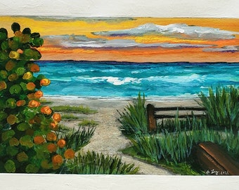 Secret Path 5-3/4×9 painted area  original landscape ocean hand painted mixed media wall decor on 8 x 12 paper bright colors acrylic paint