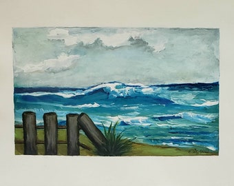 Shades Of Blue is an amazing 8.5x12 ocean view original intuitive painting.  I created using mixed media on paper. Hand painted original art