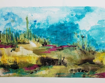 Just Imagine original abstract landscape 8.5 x 12 paper painted area 5-3/4 x 9 colorful landscape intuitive painting peaceful wall art