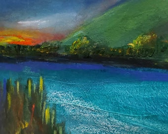 A fire in my soul 8.5 x 12 original landscape artwork on heavy paper mixed media colorful blues mountain sky river abstract landscape art