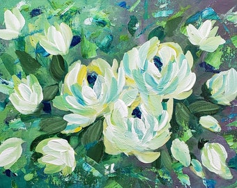 Field of White 12 x 16 floral painting on canvas board original artwork white flowers textured background abstract white flowers wall art