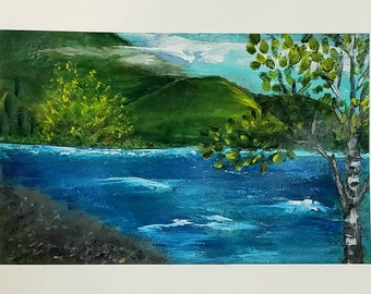 Ripples in time original art on heavy paper landscape art needs framed river art small artwork intuitive colorful  peaceful art collector