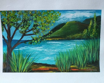 By The Rivers Edge 8.5 x 12 heavy paper 5-3/4 x 9 painted area original landscape painting wall art colorful landscape mountain lake tree
