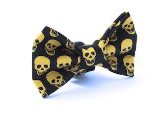 Skull Dog Bowtie, Halloween Doggy Bowtie, Yellow Dog Bowtie