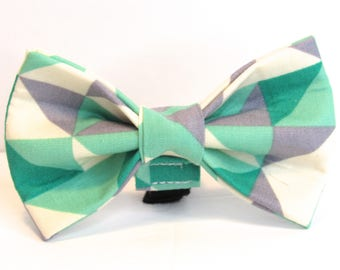 Geometric Doggy Bowtie -  Teal or Light Green