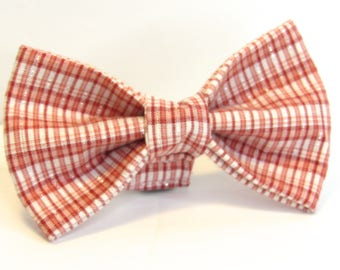 Pink Plaid Doggy Bowtie with sparkle