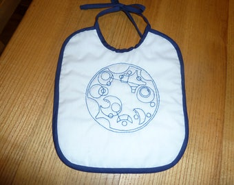 Hand Embroidered Hand Quilted Baby Bib Doctor Who We Are All Stories in the End in Gallifreyan
