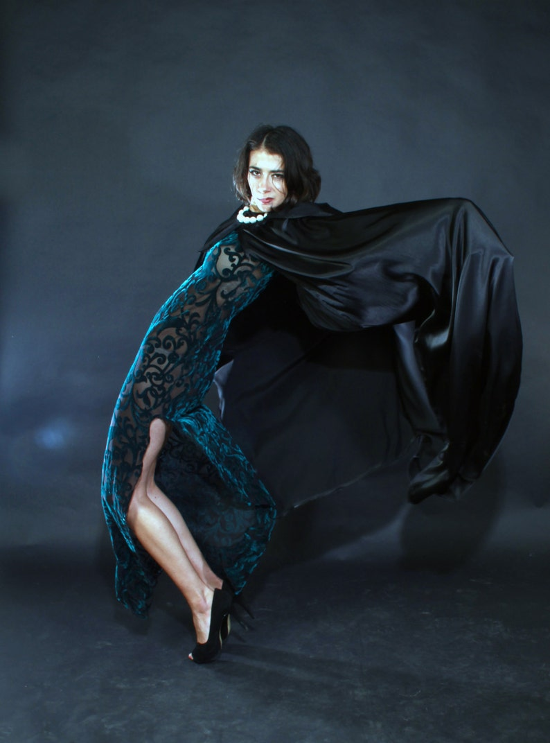 27d5a23cd81 Black satin long cape robe with big hood and no sleeves