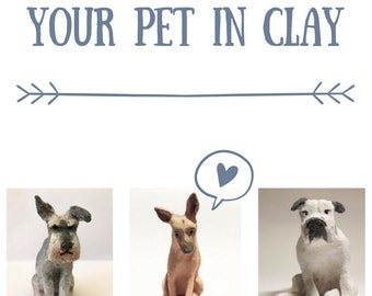 Custom ceramic pet sculpture -- miniature dog or cat -- your pet in clay -- ornament made from photograph -- small pet art