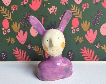ceramic love rabbit figurine -- quirky bunny ornament with heart