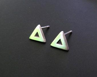 Triangle Stud Earrings, Sterling Silver Earrings, Geometric Jewelry, Studs, Jewelry, Gift, Minimalist Earrings, EveryDay Earrings