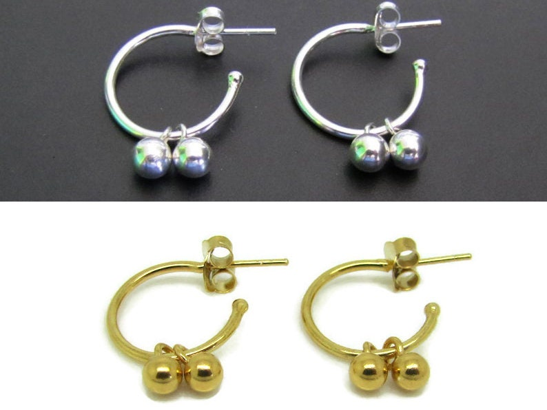 Ball Hoop Earrings Sterling Silver Earrings Hoops Jewelry image 1