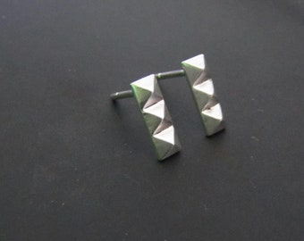 Pyramid Bar Stud Earrings, Sterling Silver Earrings, Geometric Jewelry, Studs, Gift, Minimalist Earrings, EveryDay Earrings
